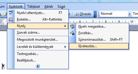 infoerettsegi: automatikus elválasztás word 2003 1.PNG