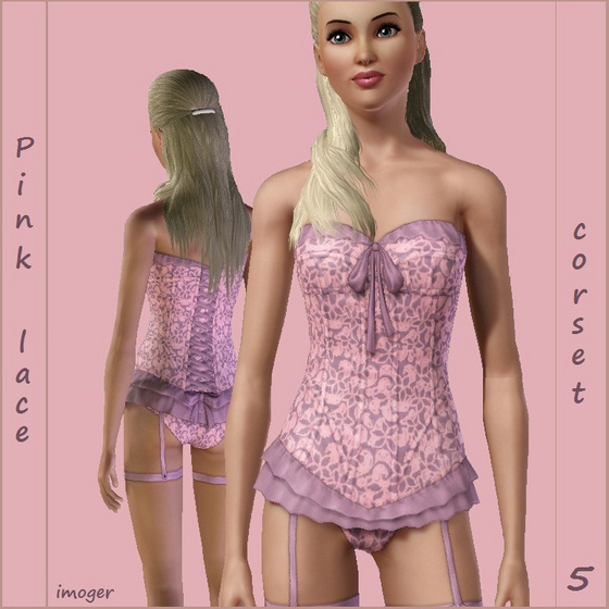 Pink lace - lingerie 5 - by imoger